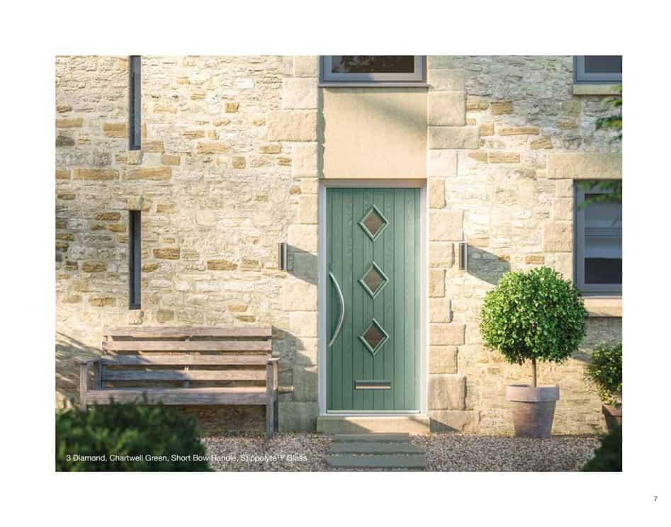 short bow handle composite door