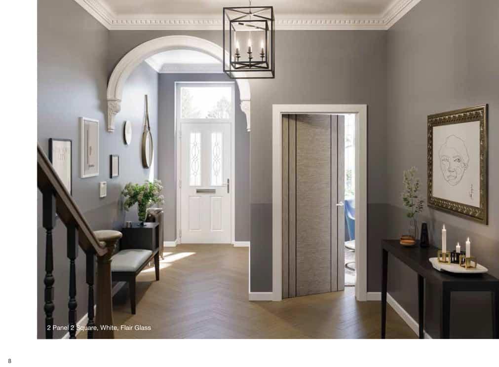 white 2 panel composite door
