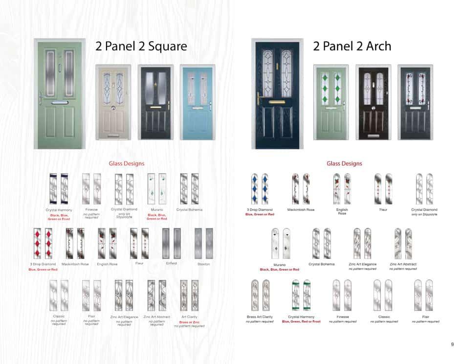 2 panel 2 square composite door