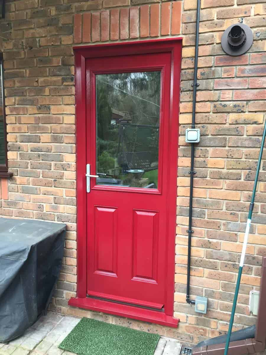red 2 panel composite door