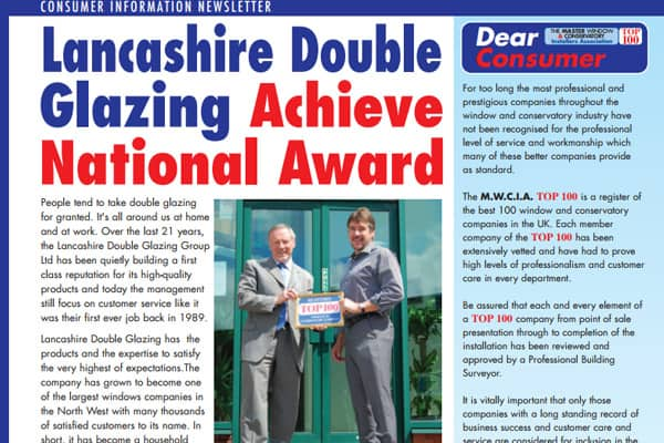 Lancashire Double Glazing Achieve National Award