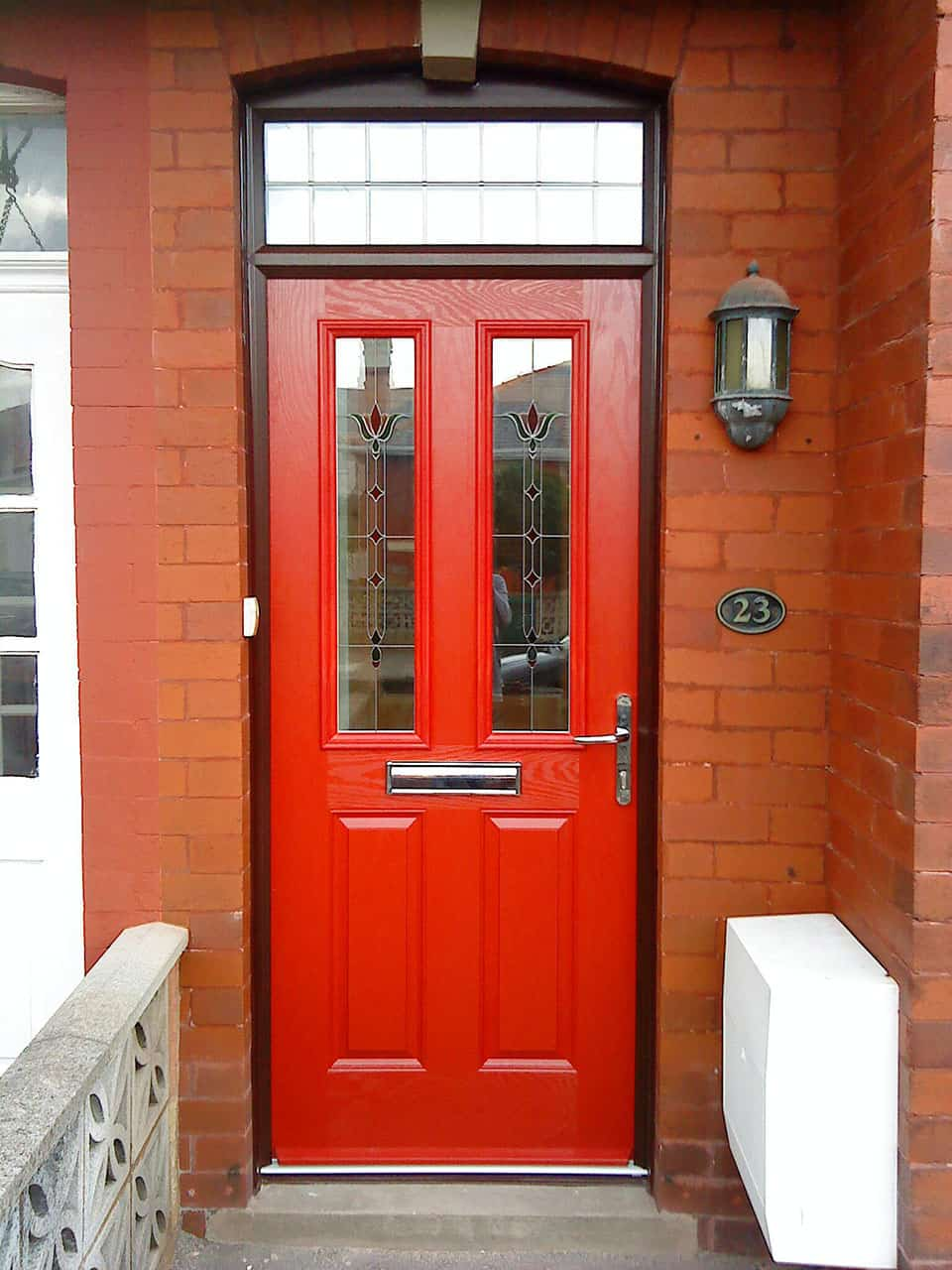 red 2 panel 2 square door