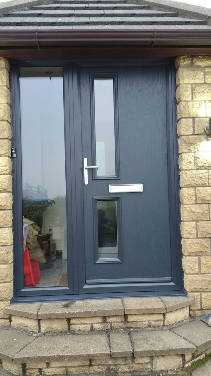 composite door with glass panel