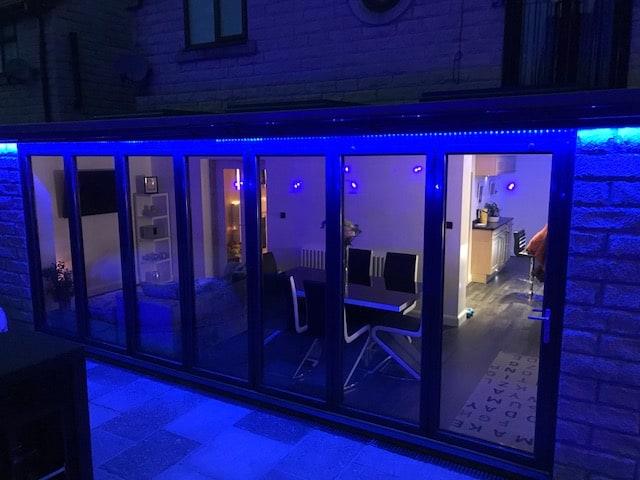 bi-fold doors contemporary lighting