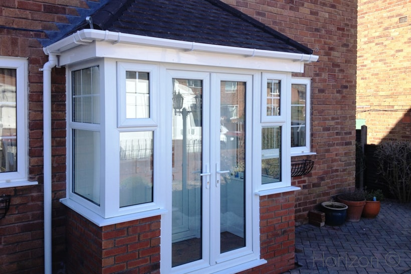 porch extension with patio doors